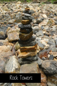 Build rock towers in the creek along the mountains at Shady Lake in the Arkansas Ouachita National Forest.