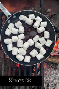 Make Smores Dip over a camp fire at Shady Lake in the Ouachita Forest in Arkansas.