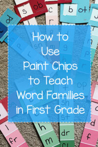 A collage of paint chips converted into educational strips to teach first graders word families