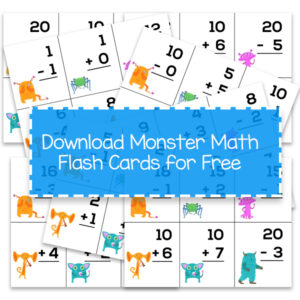 Free addition subtraction flash cards with facts to 20 for first grade featuring fun monsters.